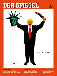 Kontroverzní obálka časopisu Der Spiegel č. 6 z 4. února 2017. Kliknutím zobrazíte obrázek v plné velikosti.